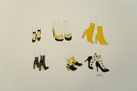 Shoes - Black and Yellow